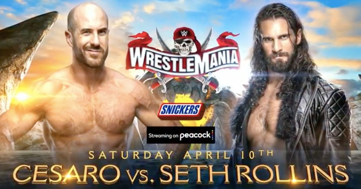 Cesaro vs Seth Rollins WWE WrestleMania 37 Night 1 Official Graphic