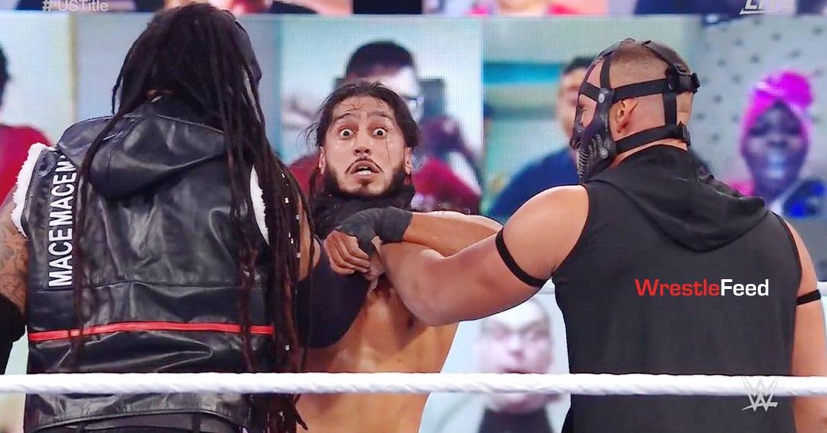 Mace T-Bar Double Chokeslam Mustafa Ali WWE Fastlane 2021 Kickoff Show WrestleFeed App