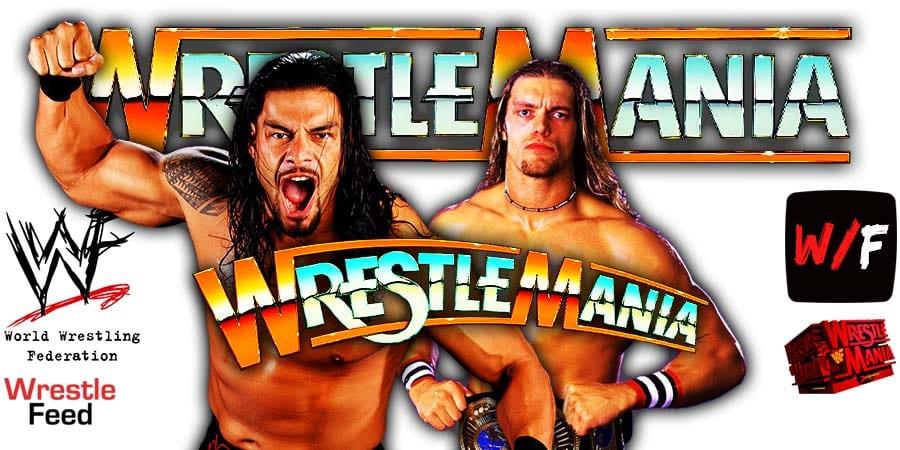 Roman Reigns Edge WrestleMania 37 Main Event Match WrestleFeed App