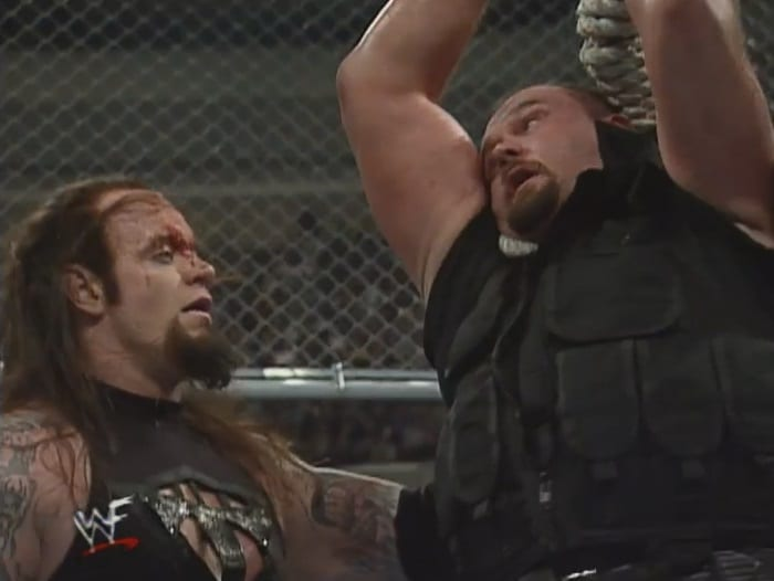 The Undertaker Hangs The Big Boss Man From The Hell In A Cell At WWF WrestleMania 15 XV 1999