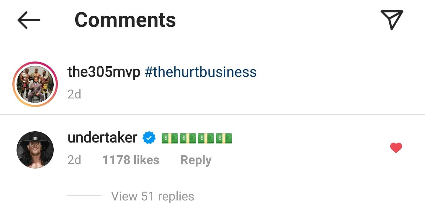 The Undertaker Reacts To The Possible Bobby Lashley vs Brock Lesnar Match On MVP's Instagram Post