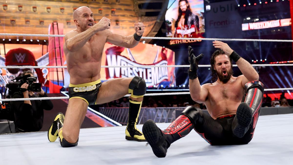 Cesaro Seth Rollins WrestleMania 37 Photo