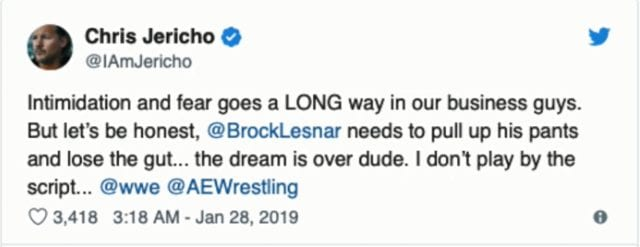 Chris Jericho calls Brock Lesnar fat and tells him to lose the gut on Twitter