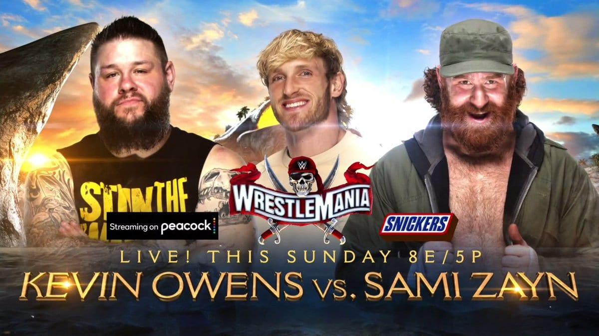 Kevin Owens Logan Paul Sami Zayn WrestleMania 37 Graphic