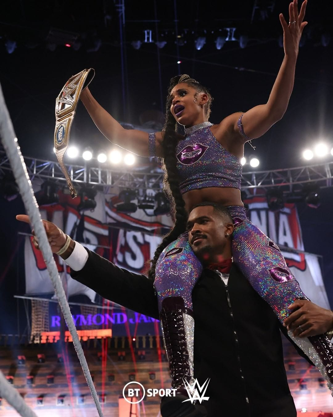 Montez Ford Celebrates With Bianca Belair After WrestleMania 37 Main Event