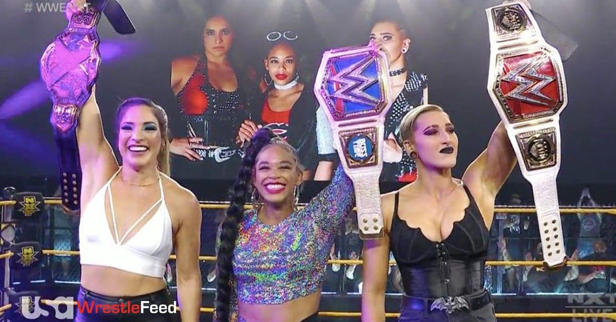 Raquel Gonzalez NXT Women's Champion Bianca Belair SmackDown Women's Champion Rhea Ripley RAW Women's Champion WrestleFeed App