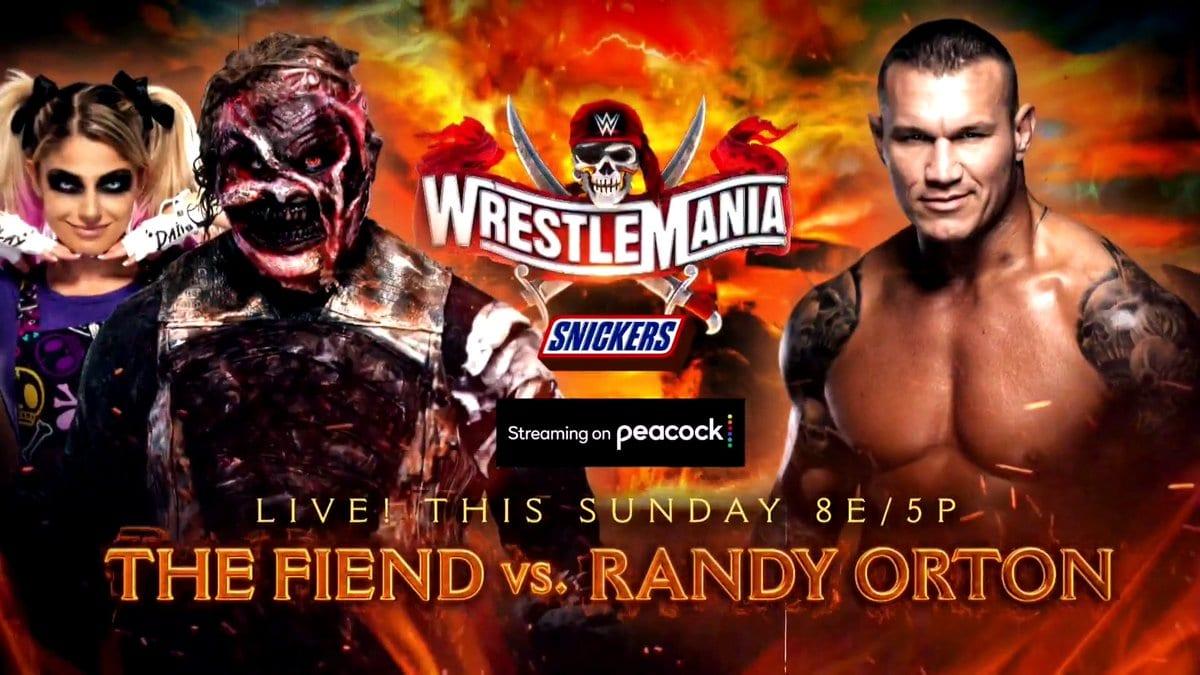 The Fiend (with Alexa Bliss) vs Randy Orton New WrestleMania 37 Graphic