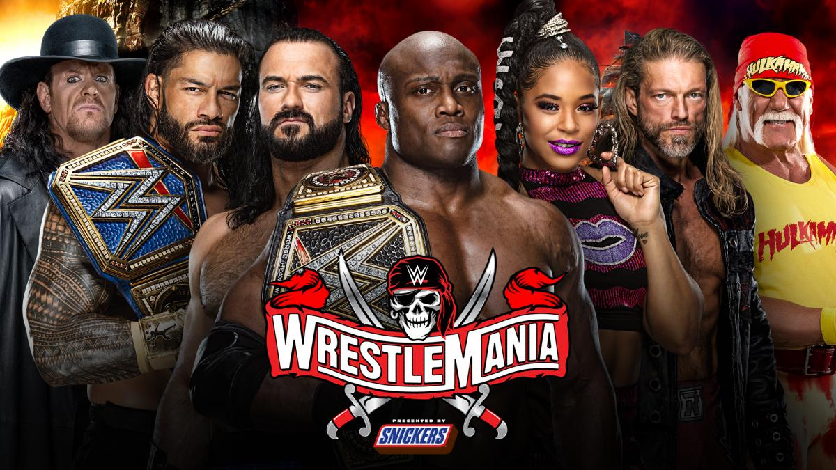The Undertaker Universal Champion Roman Reigns Drew McIntyre WWE Champion Bobby Lashley Bianca Belair Edge Hulk Hogan WrestleMania 37 Week