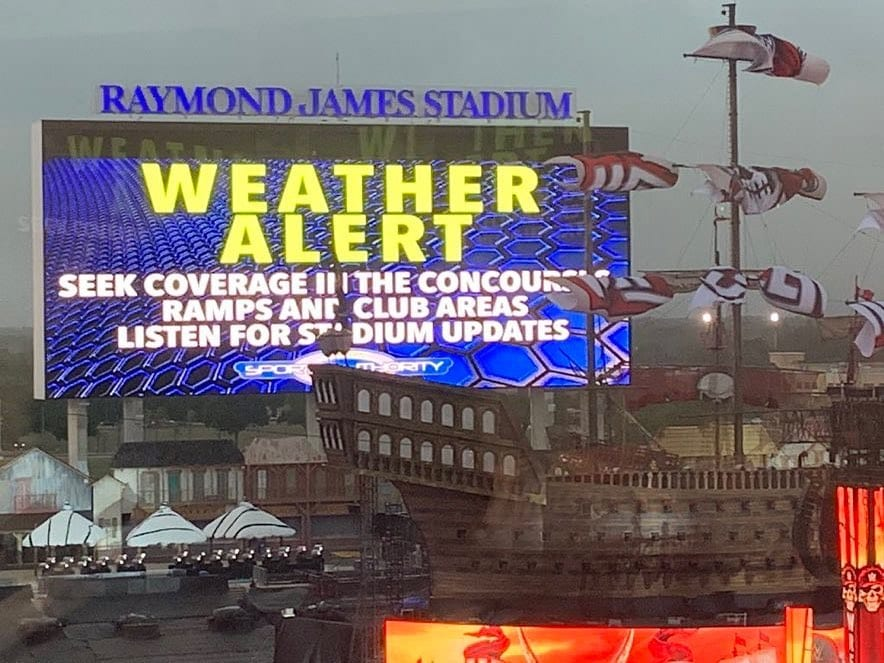 Weather Alert Raymond James Stadium WWE WrestleMania 37