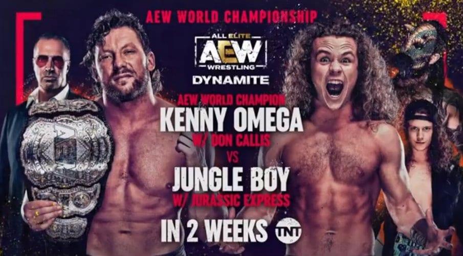 Kenny Omega vs Jungle Boy AEW World Championship Match Dynamite Graphic