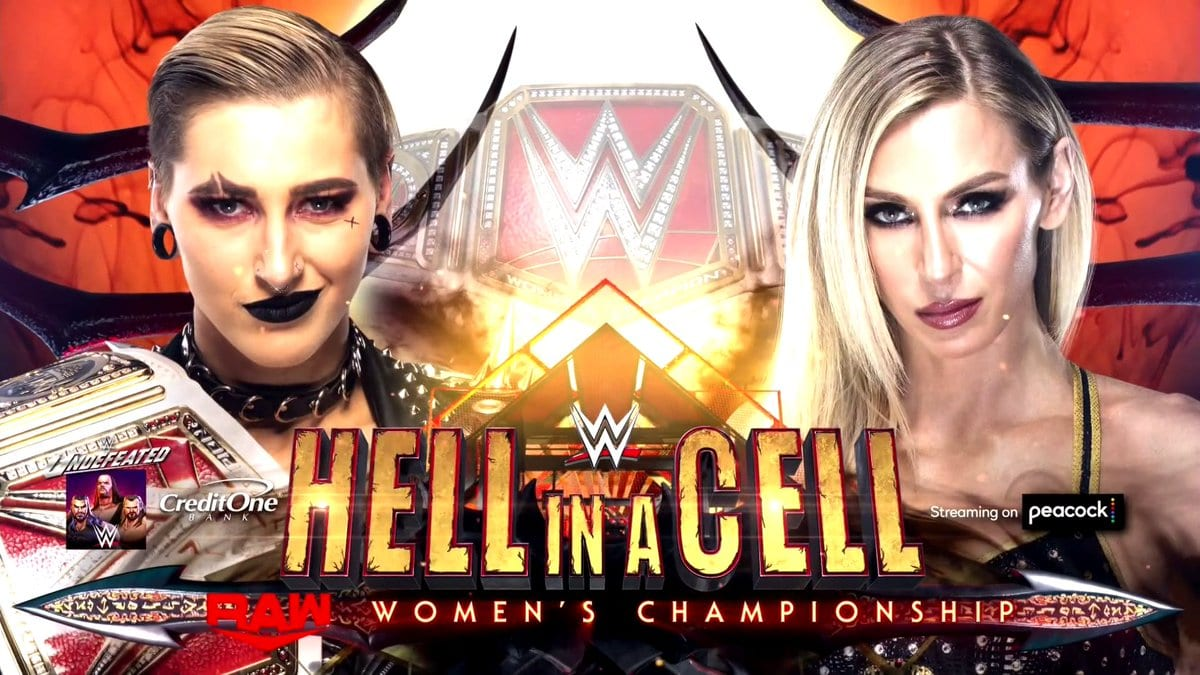 Rhea Ripley vs Charlotte Flair WWE Hell In A Cell 2021 Official Graphic