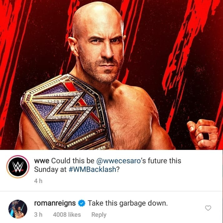 Roman Reigns tells WWE to take this garbage down on photo of Cesaro with the Universal Championship