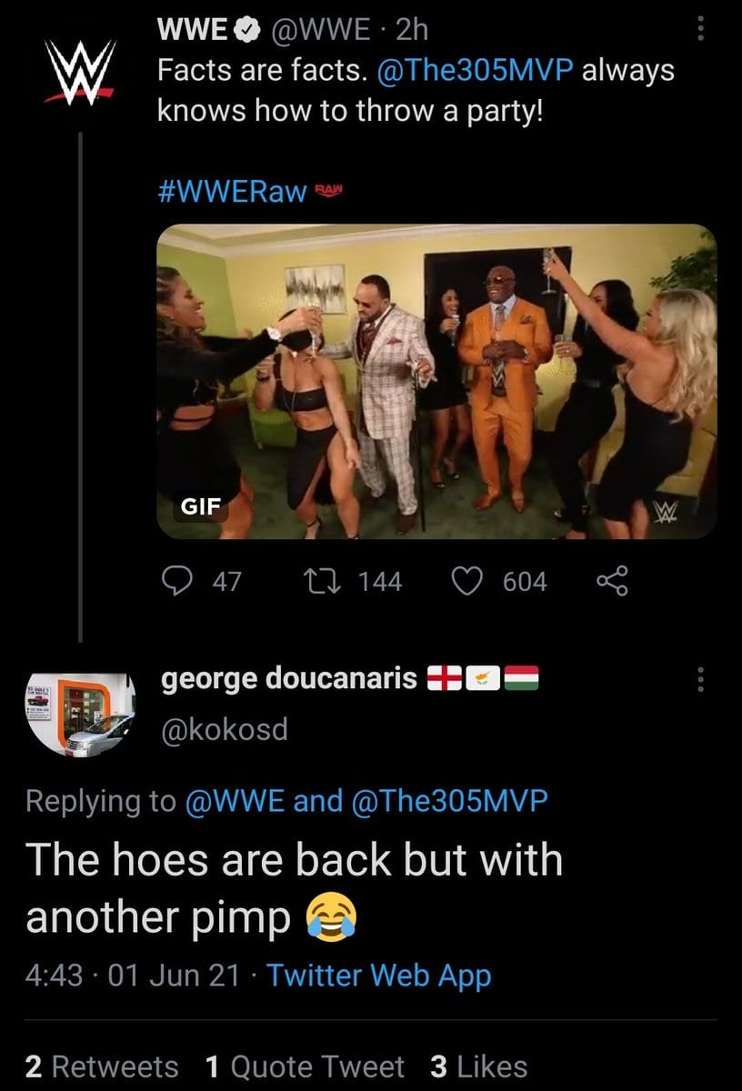 MVP Responds To A Fan Who Called Bobby Lashley's Valets Hoes