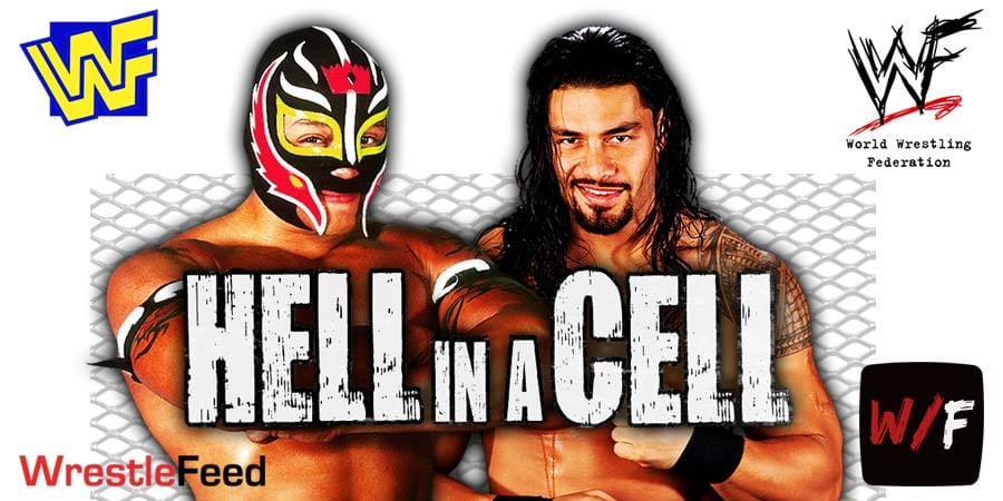 Rey Mysterio vs. Roman Reigns Hell In A Cell 2021 WrestleFeed App