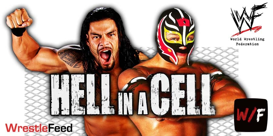 Roman Reigns defeats Rey Mysterio in a Hell in a Cell match WrestleFeed App