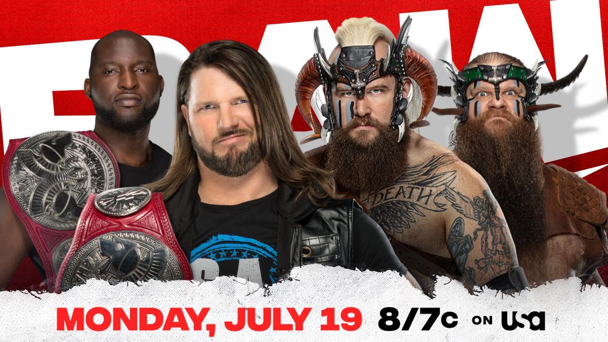 AJ Styles & Omos vs The Viking Raiders WWE RAW Tag Team Championship Match Graphic July 19 2021