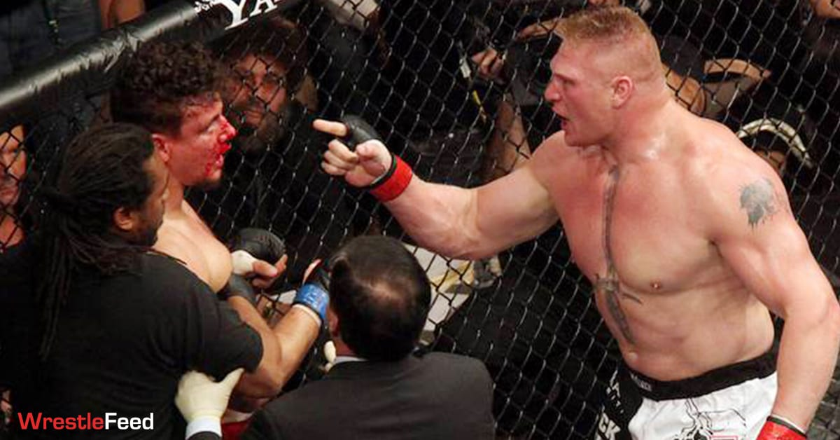 Brock Lesnar Angry At Frank Mir UFC 100 WrestleFeed App