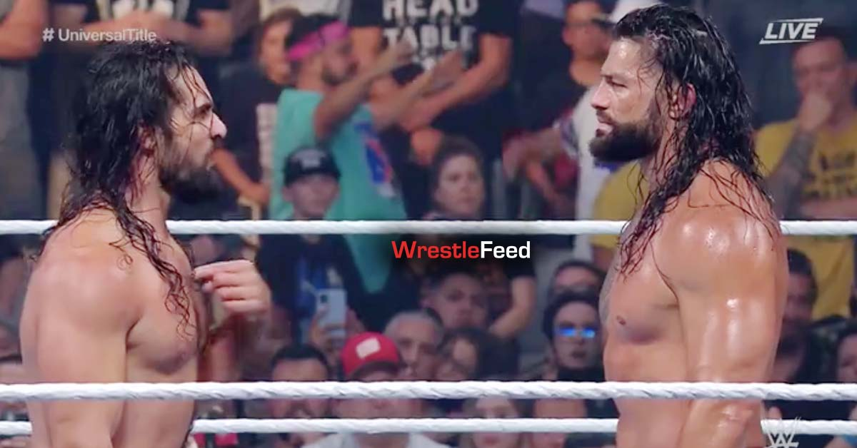 Seth Rollins Roman Reigns Face To Face WWE Money In The Bank 2021 WrestleFeed App