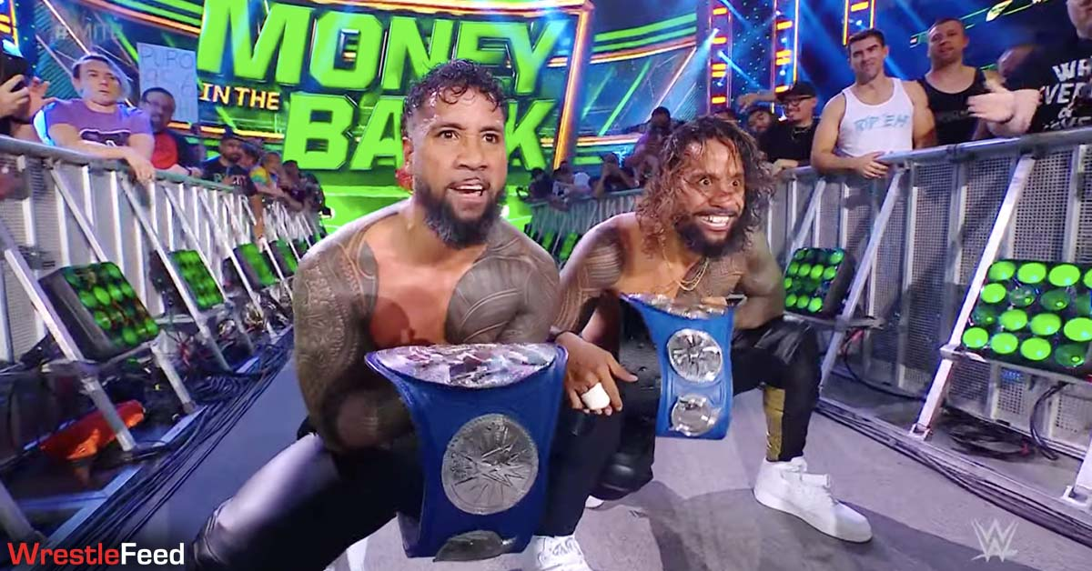 The Usos win SmackDown Tag Team Championship WWE Money In The Bank 2021 Kickoff Show