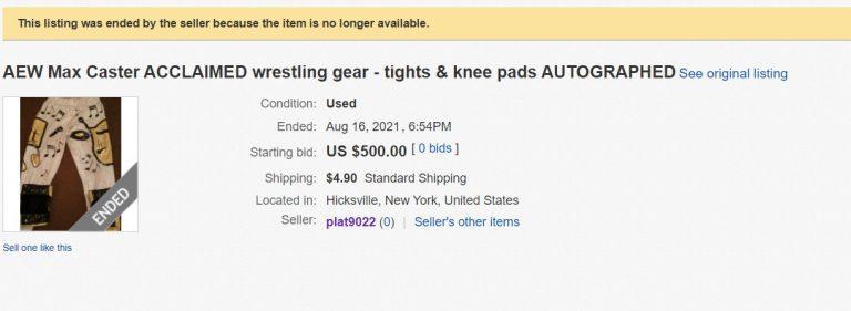 AEW Max Caster Wrestling Gear Auction eBay