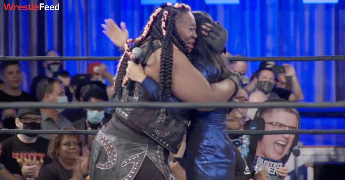 Awesome Kong Retirement Emotional In Ring Moment With Gail Kim NWA Empowerrr August 2021 WrestleFeed App