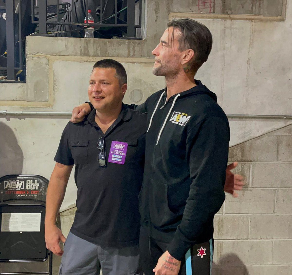 Crying CM Punk Guy met CM Punk backstage at AEW All Out 2021 PPV