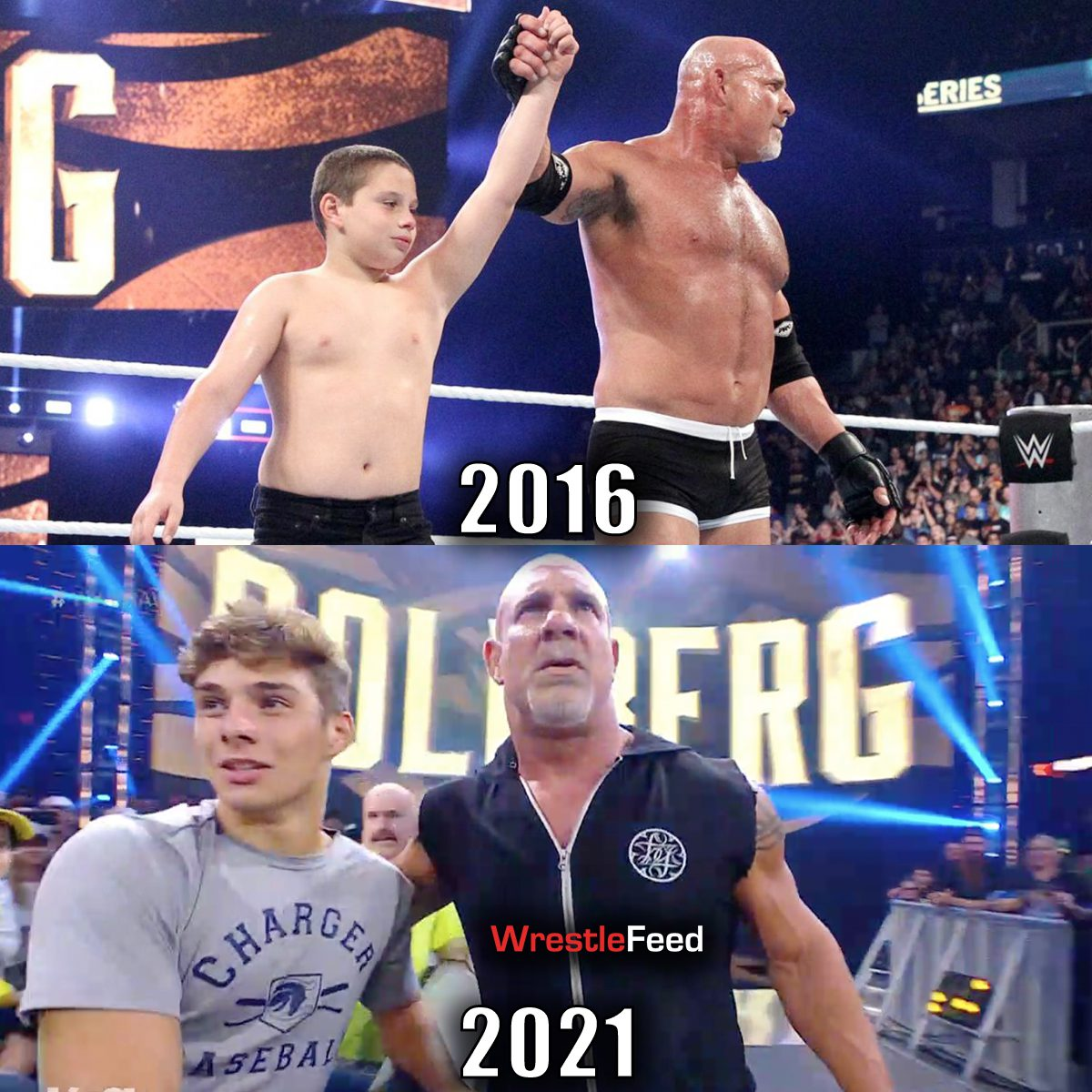 Goldberg and his son then and now 2016 2021 WWE WrestleFeed App