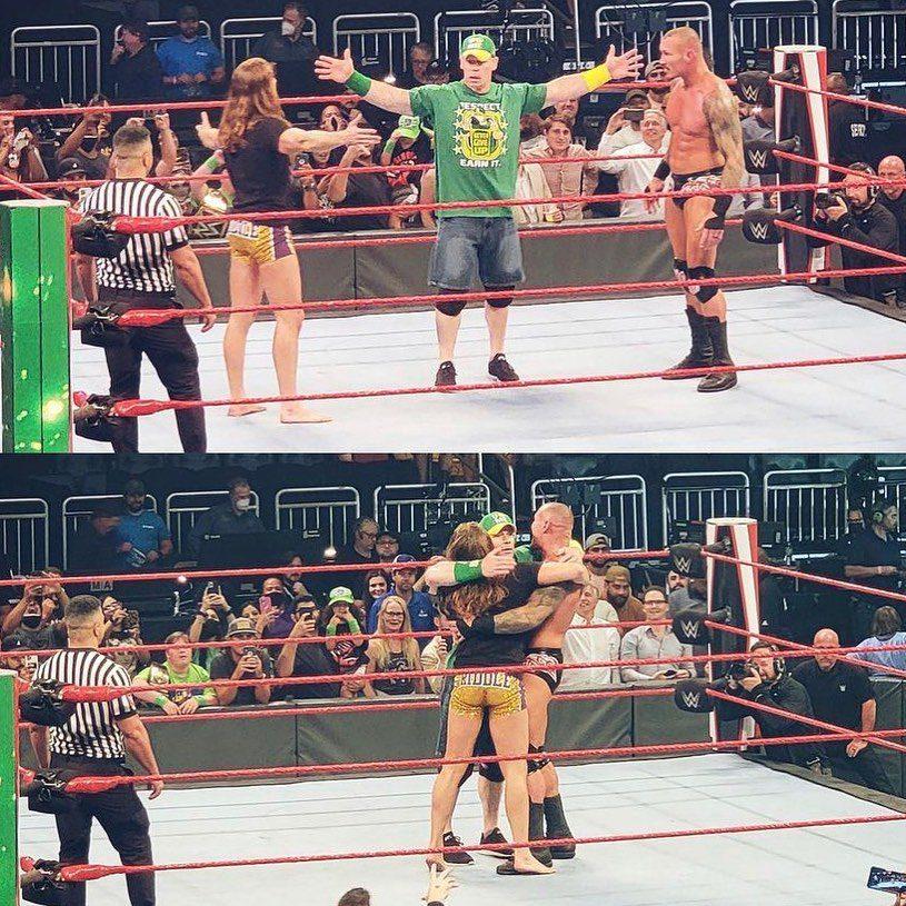 John Cena Riddle Randy Orton hug after WWE RAW