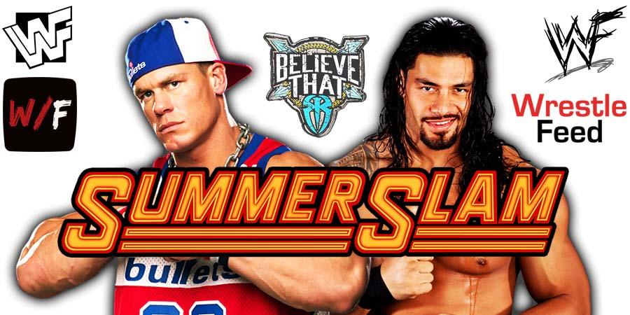Roman Reigns vs John Cena WWE SummerSlam 2021 PPV WrestleFeed App