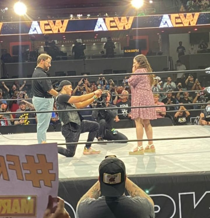 Sammy Guevara proposes to his girlfriend in an AEW ring
