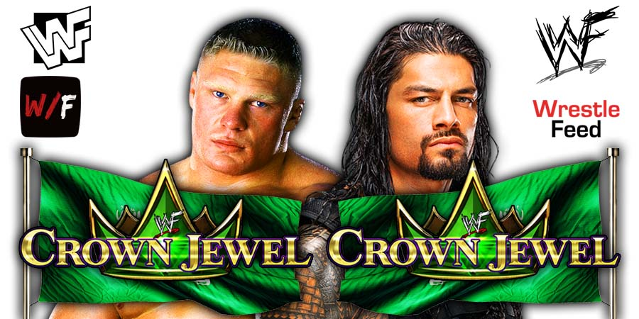 Brock Lesnar vs Roman Reigns Crown Jewel 2021 WrestleFeed App