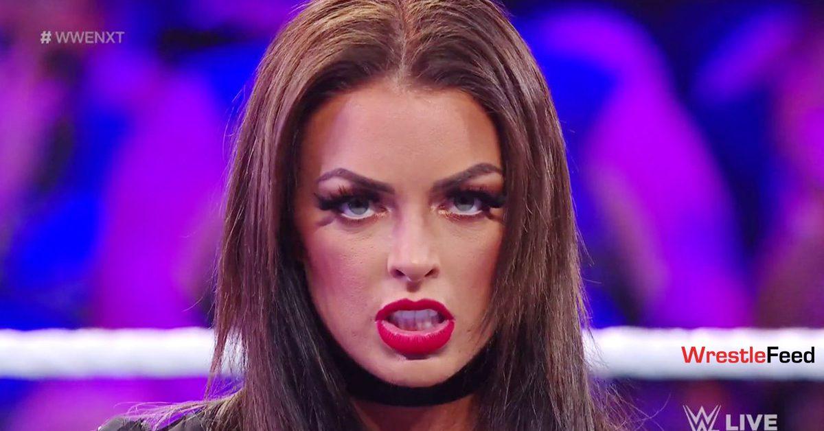 Mandy Rose Brunette Hair Color Red Lips WWE NXT September 2021 WrestleFeed App