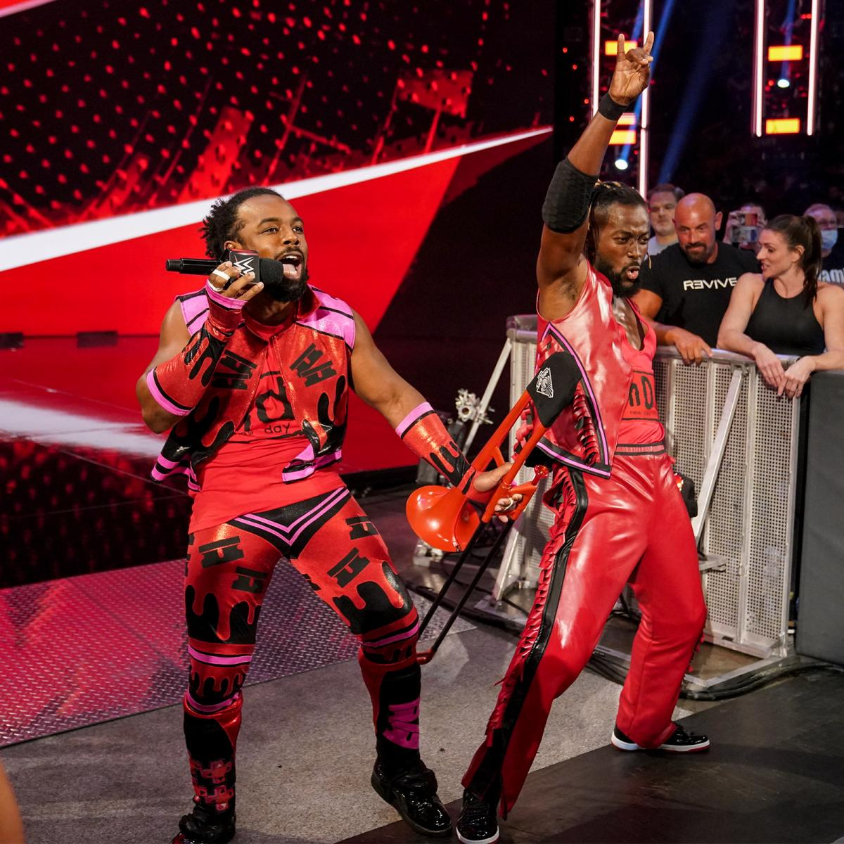 The New Day Kofi Kingston Xavier Woods Pay Tribute To The Outsiders Kevin Nash Scott Hall WCW Bash At The Beach 1996 Outfits On WWE RAW September 2021