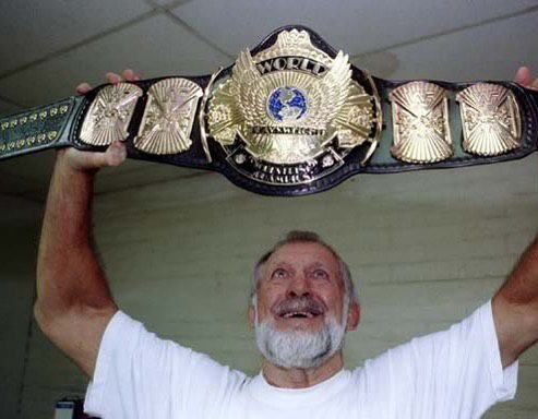 Reggie Parks With The Winged Eagle WWF Championship Title Belt
